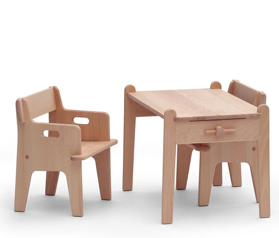 a wood table and chair for children