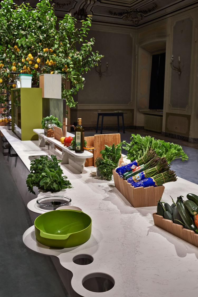 caesarstone Milan Raw Edges Islands food preparation demonstration