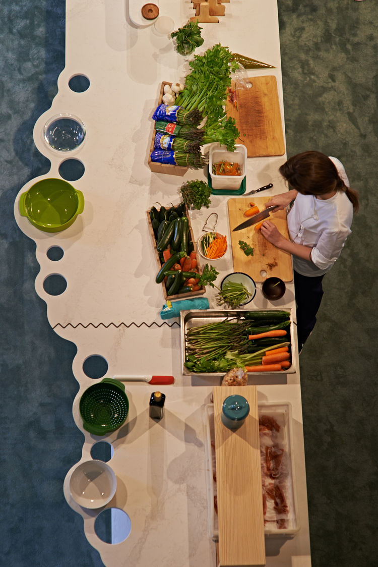 caesarstone Milan Raw Edges Islands food preparation demonstration