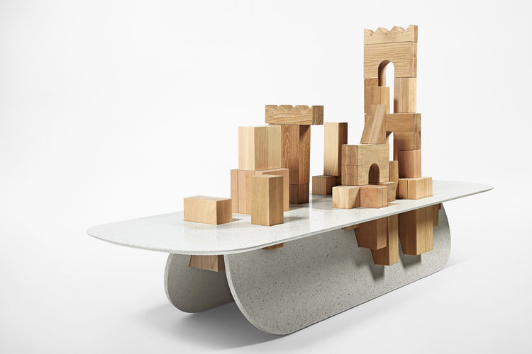 caesarstone Milan Raw Edges Islands building blocks table