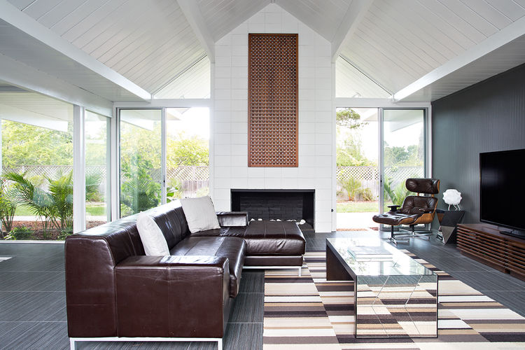 burlingame eichler living space with tall ceilings