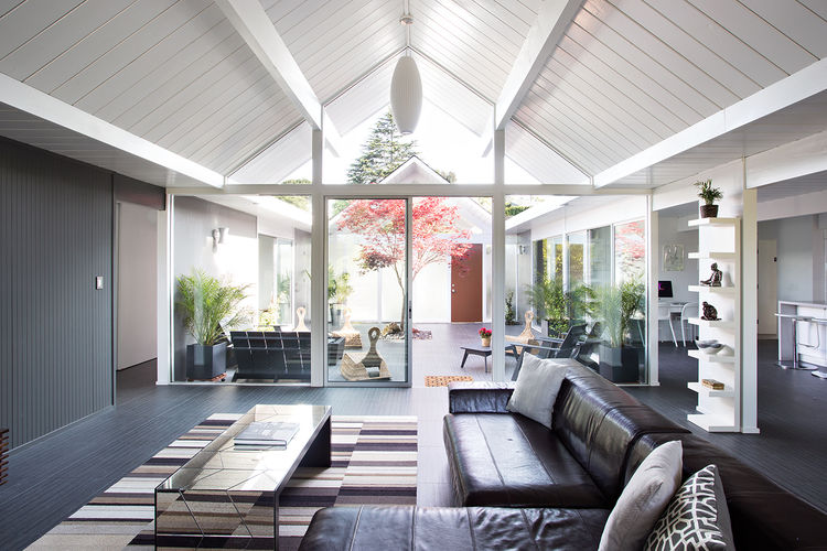 burlingame eichler living space with outdoor courtyard