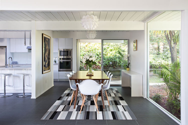 burlingame eichler with open plan dining room table