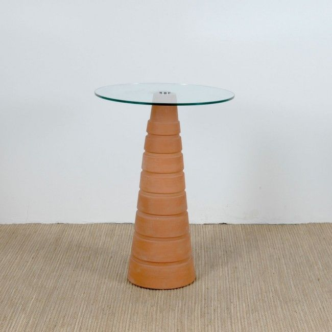 Flower Pot Table with glass top