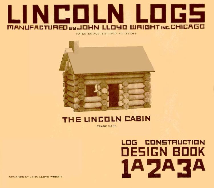 An early image of Lincoln Logs, invented by John Lloyd Wright