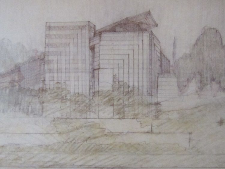 A sketch of the Little Dipper schoolhouse at the Hollyhock House