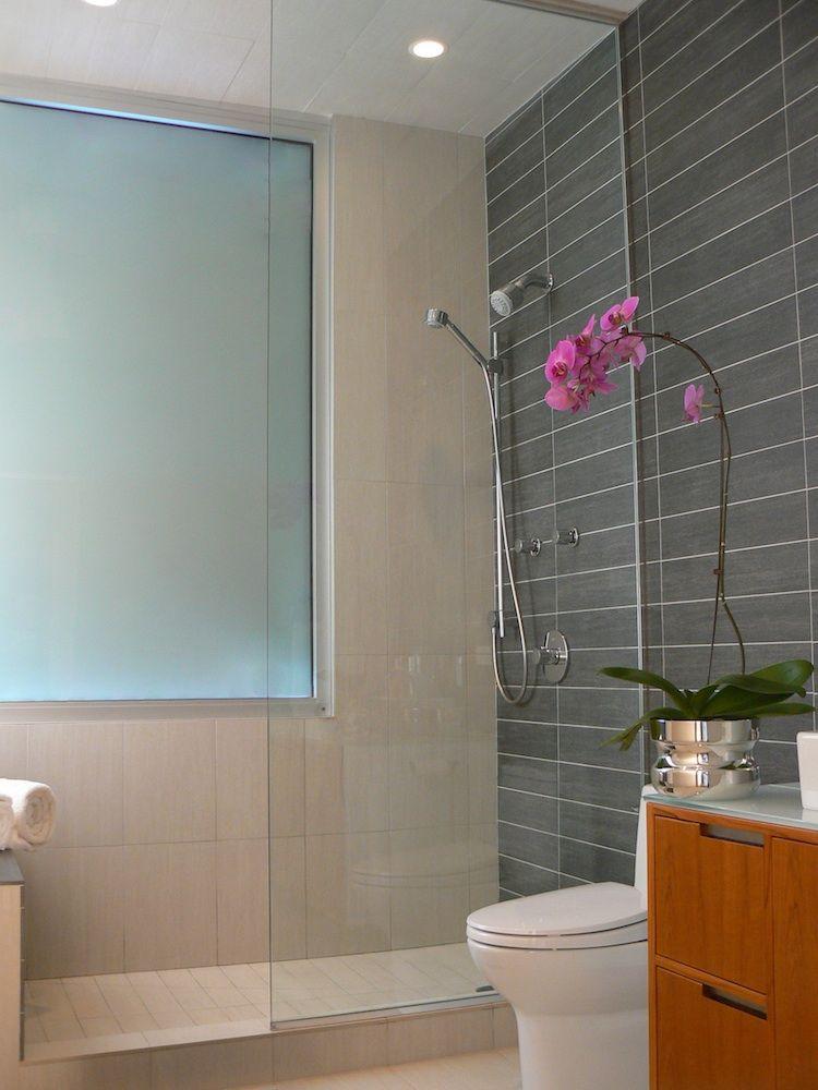 master bathroom with custom tiles and vanities