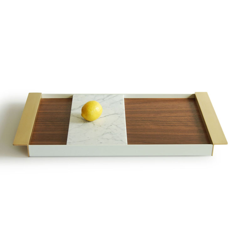Elegant mixed material tray including brass, marble, walnut, and aluminum