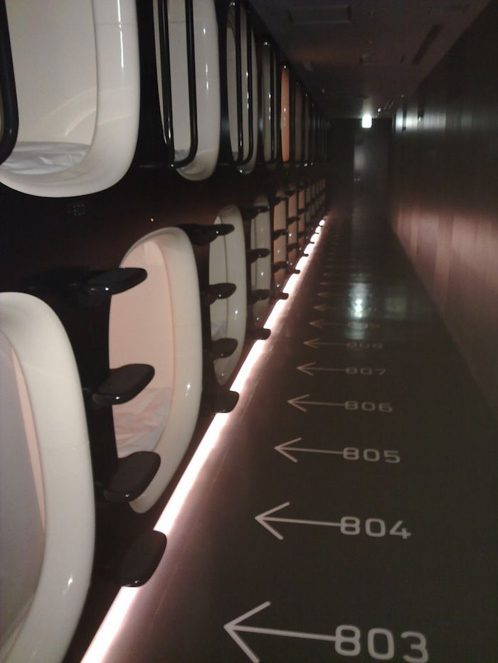 A bank of rooms in a capsule hotel in Kyoto