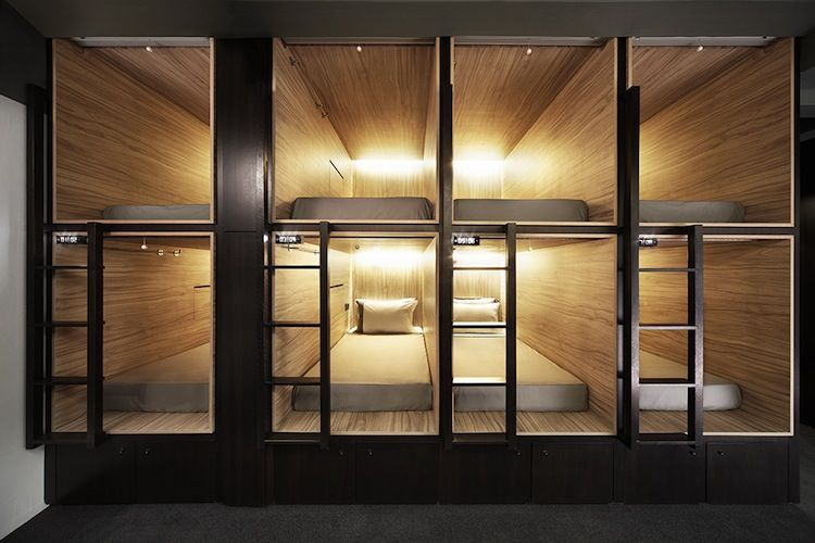 Beds in a designer capsule hotel in Singapore
