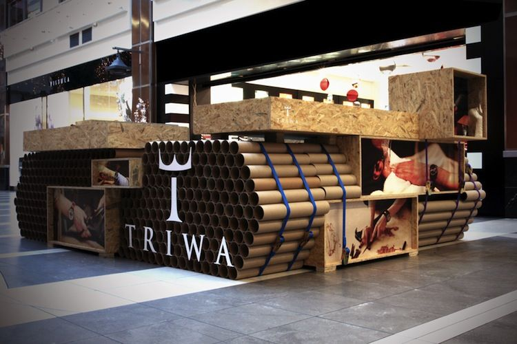 A retail display build out of cardboard tubes in Poland