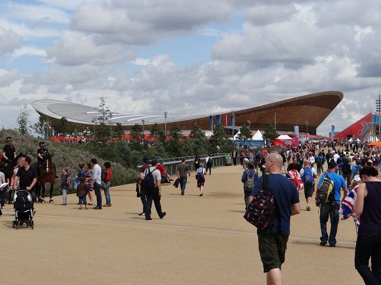 "The sustainability minded London 2012 Velodrome, nicknamed ""the Pringle"""