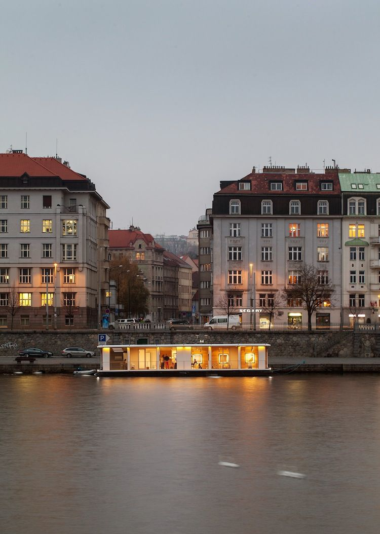 Floating prefab home on the Vltava River in Prague