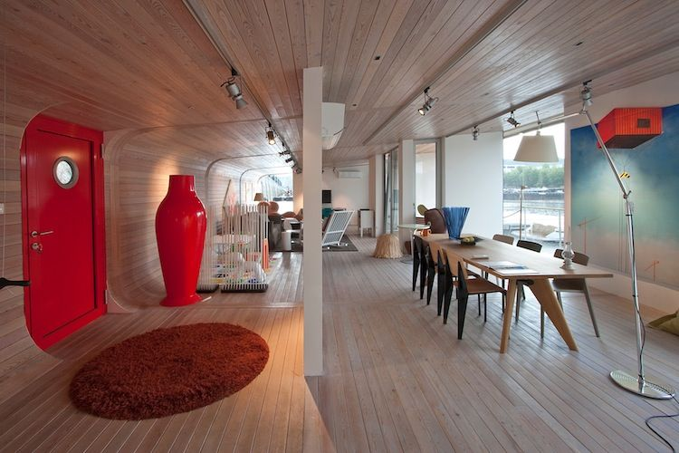 The wood laminate interior of the Port X prefab home project in Prague