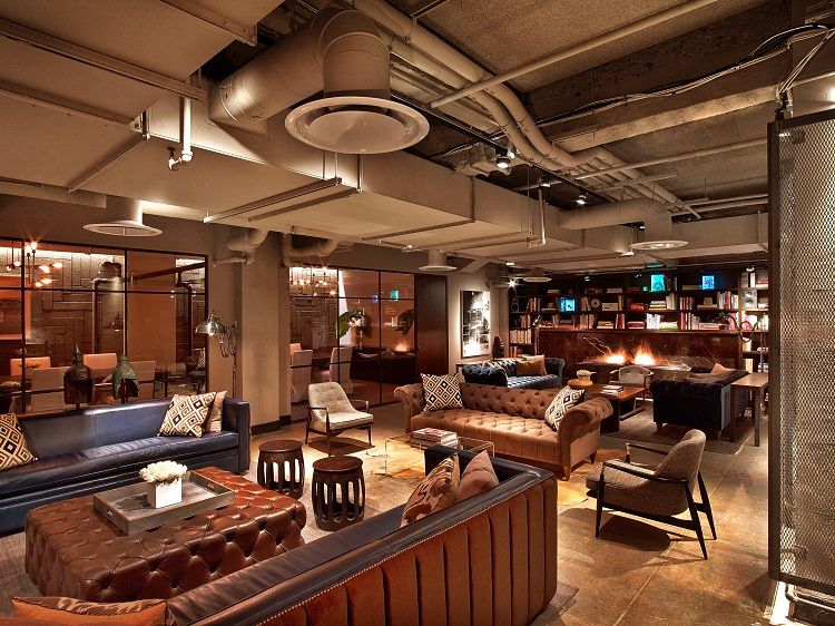 Neuehouse cowork space in New York with hospitality influences