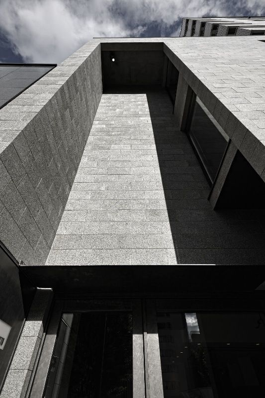 Thin stone business building in Japan