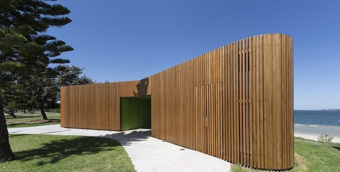 Slatted timber public restrooms on the beach