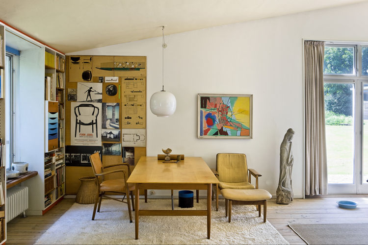 Finn Juhl's home office with architectural drawings
