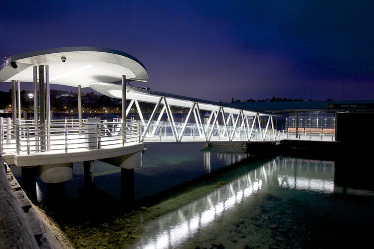 Glass and steel ferry infrastructure on the Sydney Harbor