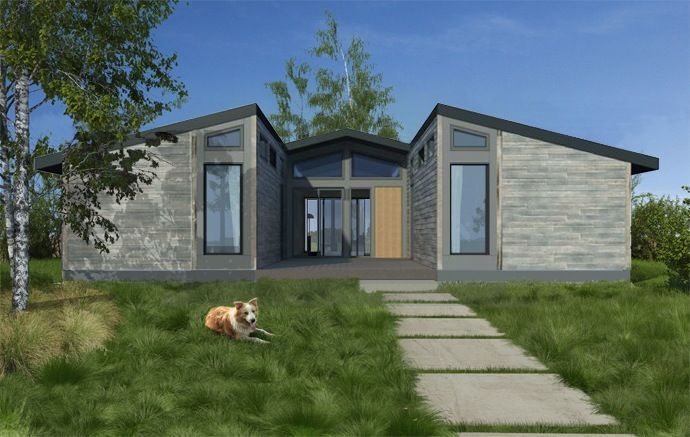 Symmetrical prefab home design on an Indian preserve