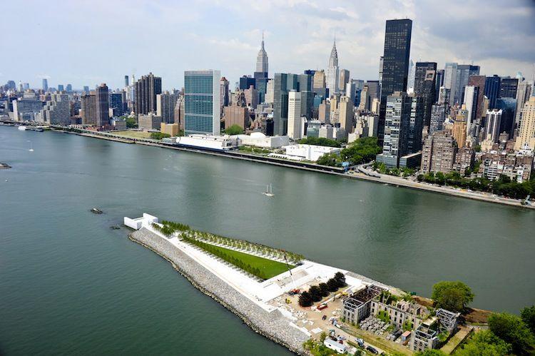 Four Freedoms Park, a granite monument off of Manhattan