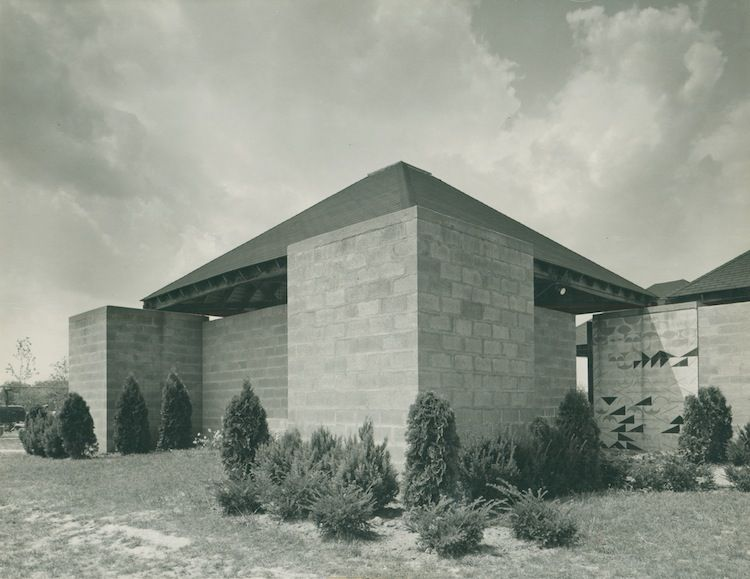 Stone community center and pool house