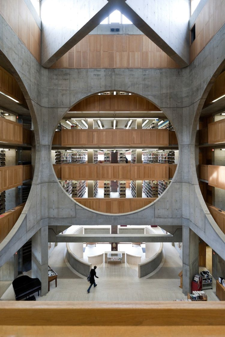 Stone and wood, multilevel library at Phillips Exeter Academy