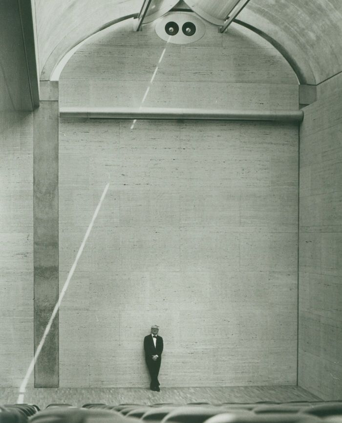 Louis Kahn at the auditorium of the Kimbell Art Museum