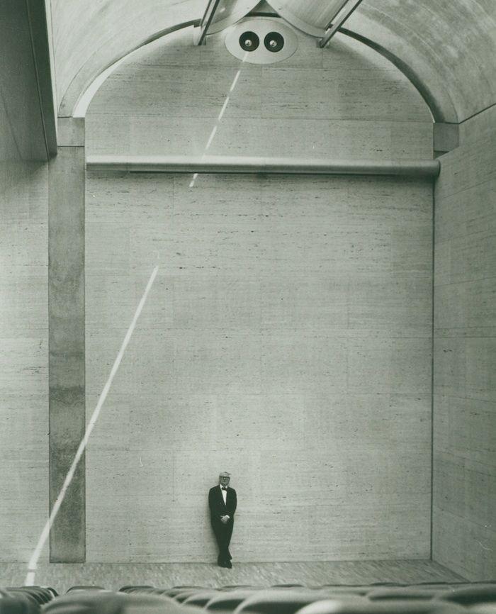 Louis Kahn at the auditorium of the Kimbell Art Museum