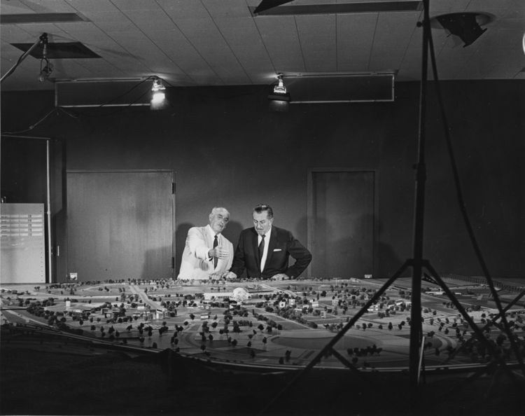 Robert Moses and Walt Disney with 1964 World's Fair Ground model
