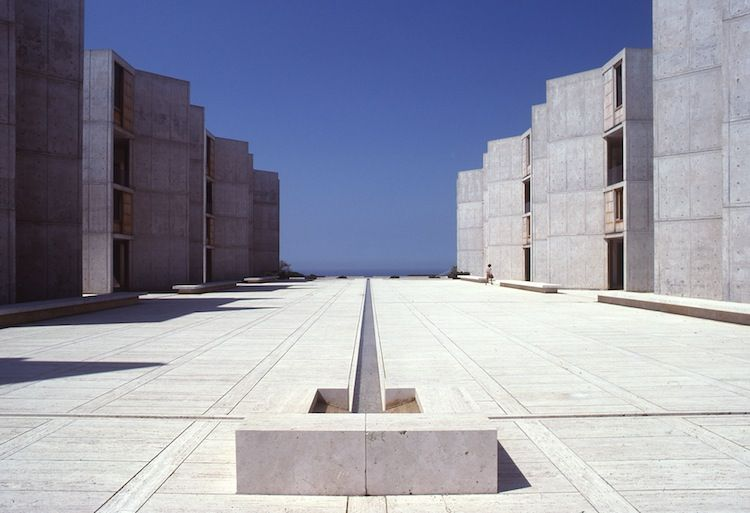 Symmetrical concrete site leading to the ocean in California