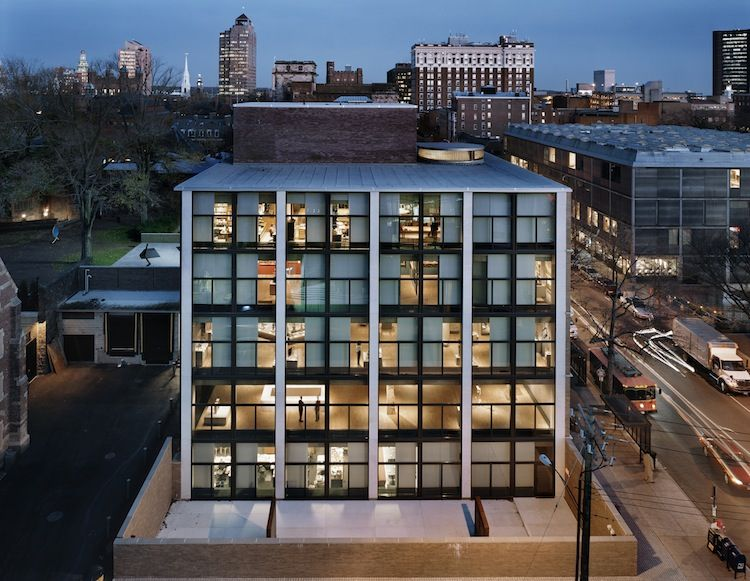 Glass-and-concrete, geometric Yale University Art Gallery building