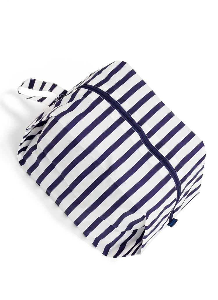 Striped storage pouch for travel or everyday use