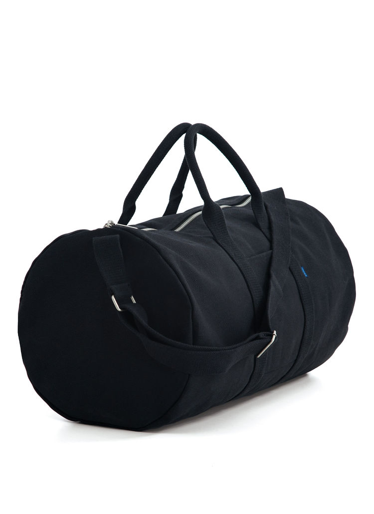 Sleek black duffel bag for overnight, weekend, or gym trips