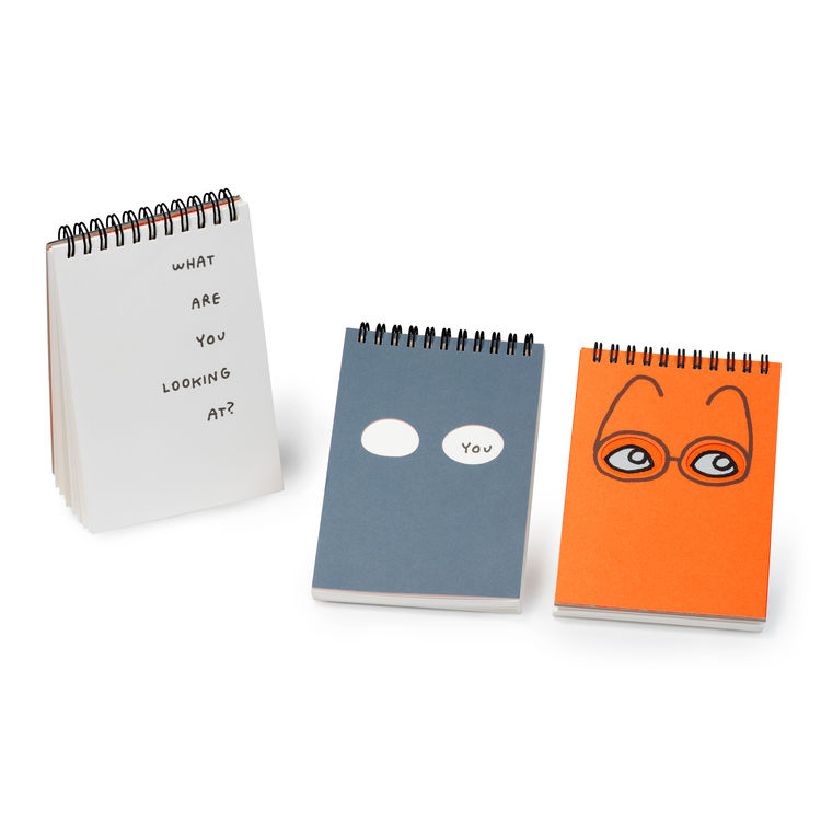 Plumb observation notebooks in orange and blue.