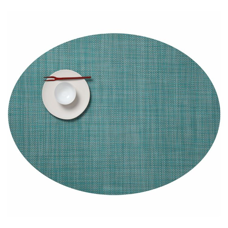 oval-shaped placemat in varied colors