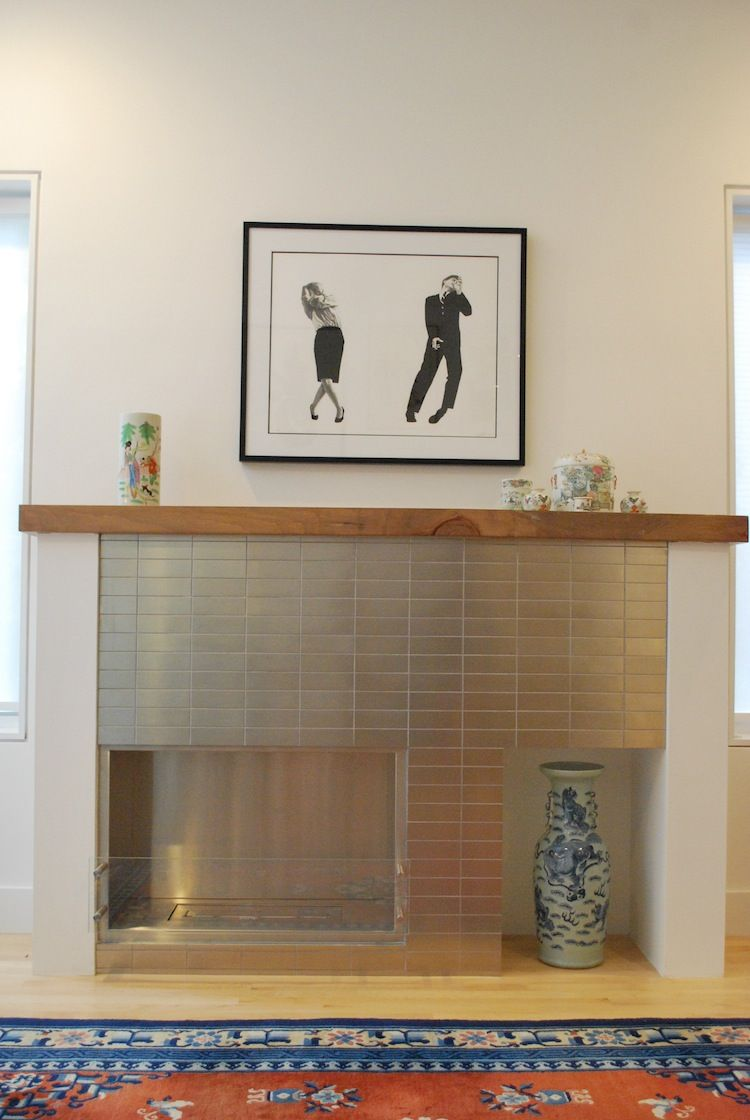 Modern fireplace in a house for aging in place in Chicago