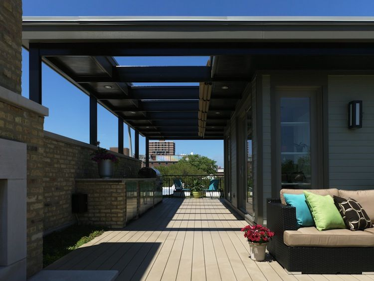 Comfortable deck in a crowded urban lot