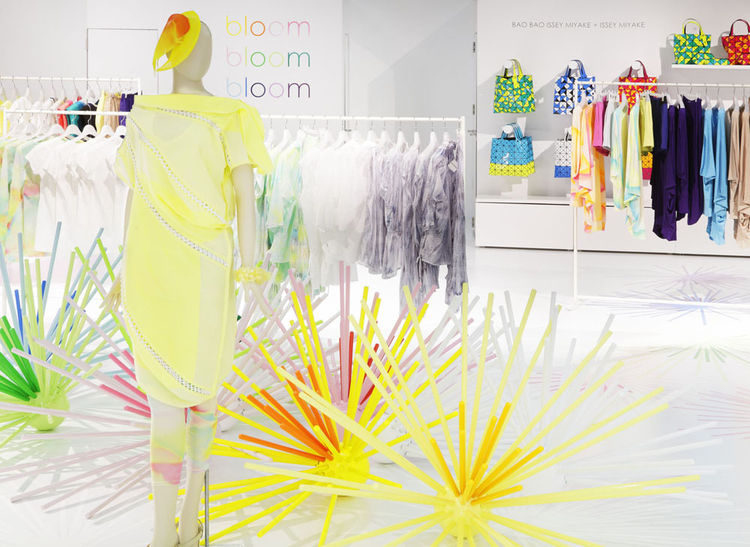 Issey Miyake colorful store installation