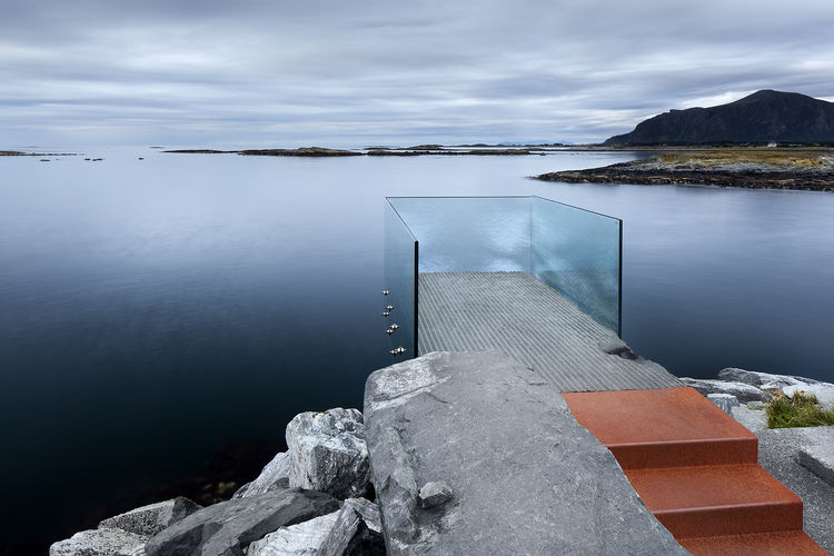 Glass viewing platform over the water in Norway