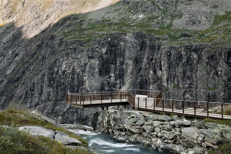 Pathway and viewing platform on a cliff in Norway