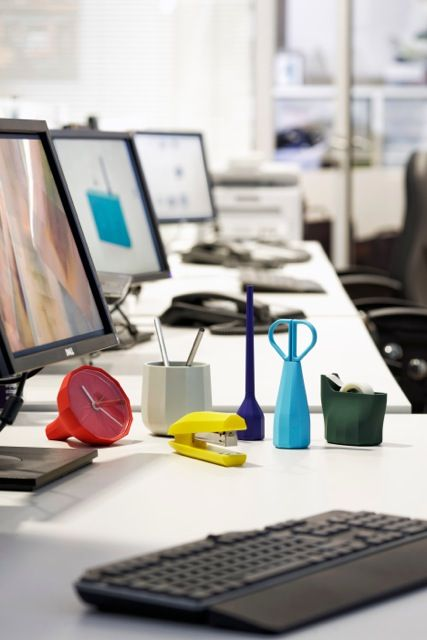 colorful desk collection for cohesive home office