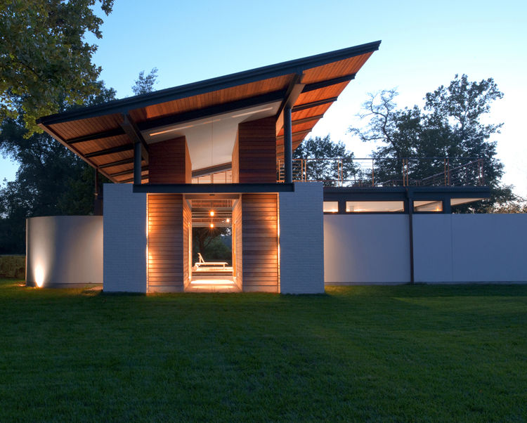 Large angled roof on a guest house in Virginia