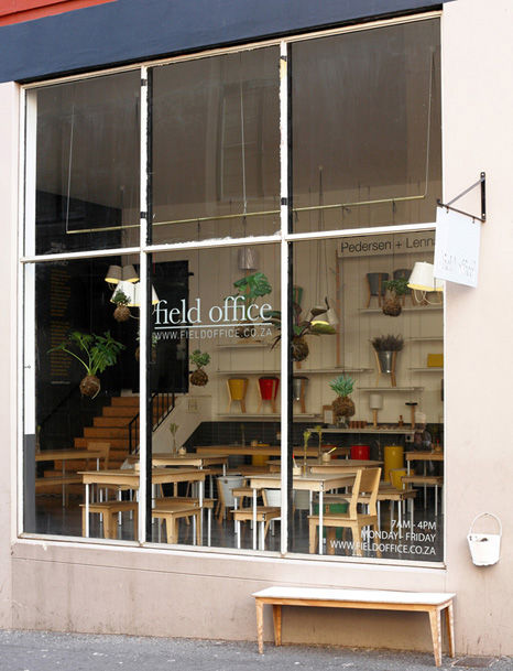 Field Office coffee shop exterior with tall windows