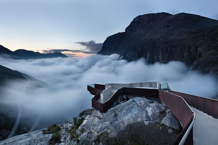 Modern footpath in the mountains of Norway