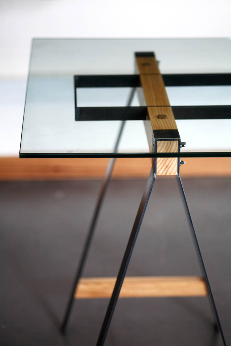 Glass Trestle table supports
