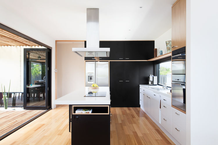 Byron Bay house kitchen with island.