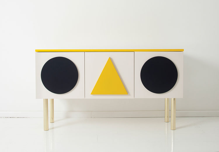 Alexander Girard-inspired, geometric sideboard