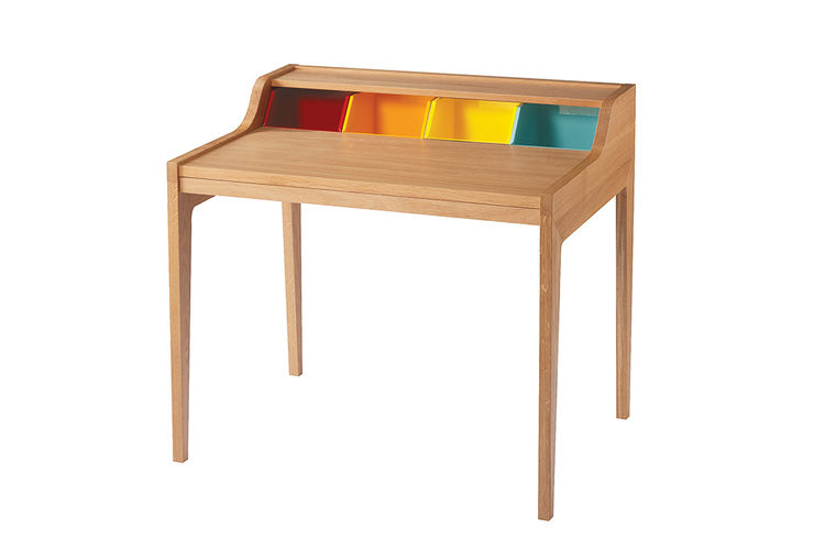 Wooden desk with colorful top compartments