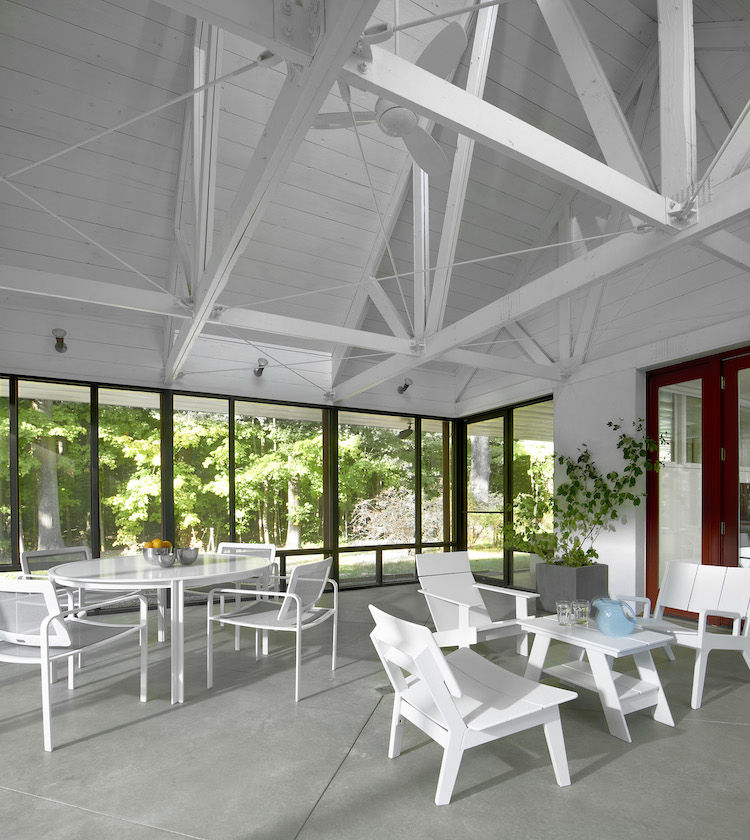 The screened-in porch was built to be a centerpiece